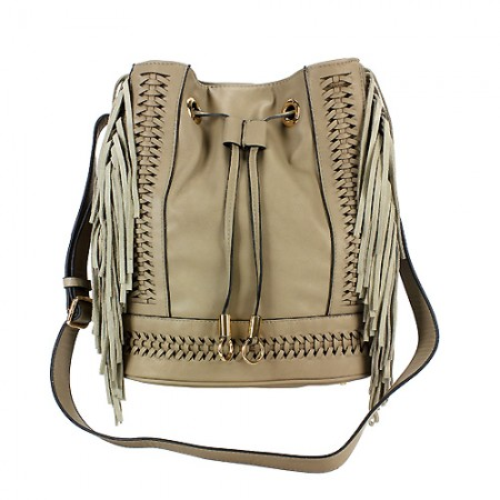 Drawstring Bucket Bags w/ Genuine Leather Fringes On Sides - Taupe