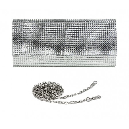 Evening Bag - Jeweled Acrylic Beads w/ Flap - Clear