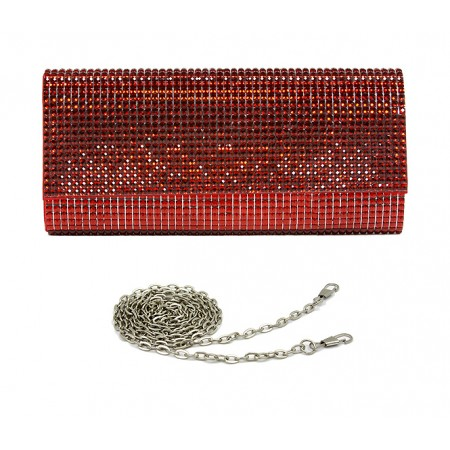 Evening Bag - Jeweled Acrylic Beads w/ Flap - Red