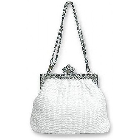 Evening Bag - Beaded w/ Rhinestoned Frame - White