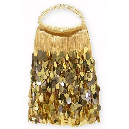 Evening Bag - Dangling Sequined & Beaded - Gold
