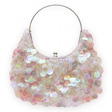 Evening Bag - Sequined & Beaded w/ Frame - White