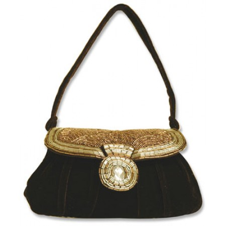 Evening Bag - Beaded - Brown