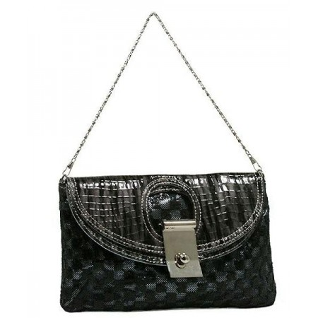 Evening Bag - Sequined Checker w/ Croc Embossed Dual Flap - Black - BG-CE9913BK