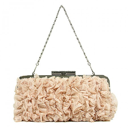Evening Bag -  Ruffled - Champaign