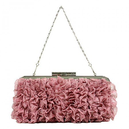 Evening Bag -  Ruffled - Pink