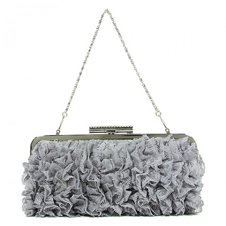 Evening Bag -  Ruffled - Silver