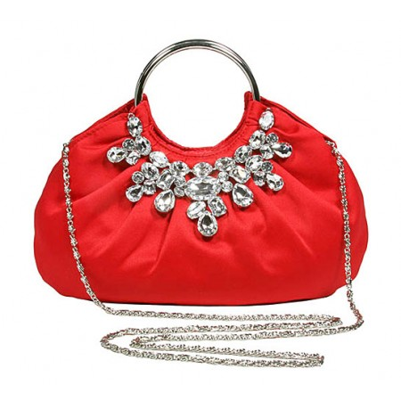 Evening Bag - Jeweled Satin w/ Metal Ring - Red