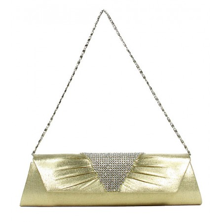 Evening Bag - Metal Mesh Accent Flap Clutch - Gold -BG-92053G