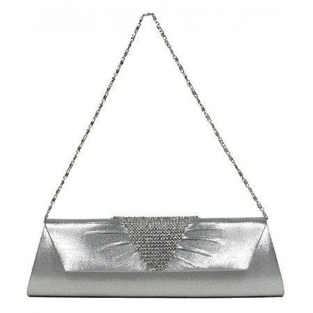 Evening Bag - Metal Mesh Accent Flap Clutch - Silver -BG-92053SV