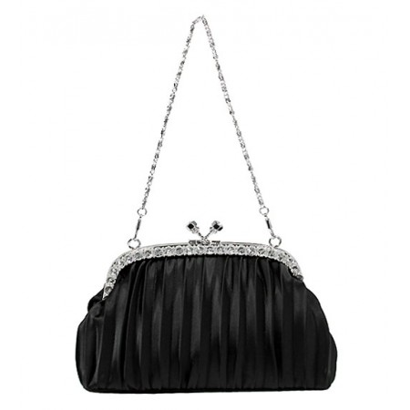 Evening Bag - Pleated Clutch w/ Rhinestone Frame - Black -BG-92056B