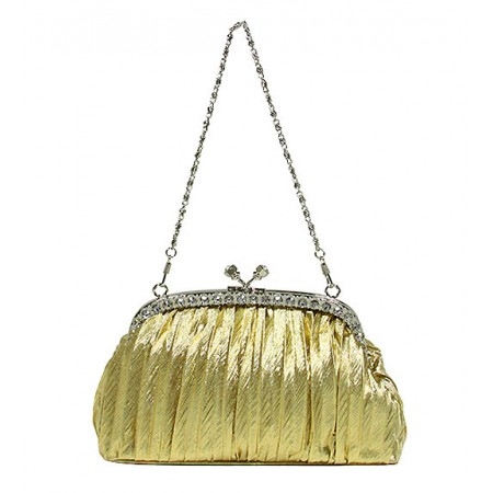 Evening Bag - Pleated Clutch w/ Rhinestone Frame - Gold BG-92056G