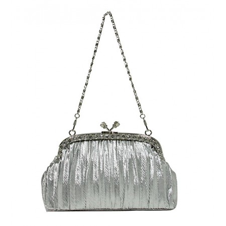 Evening Bag - Pleated Clutch w/ Rhinestone Frame - Silver -BG-92056S