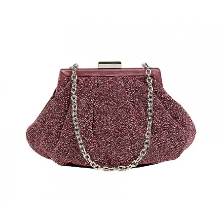 Evening Bag - Glittery Look Fabric - Fuchsia - BG-92093FU