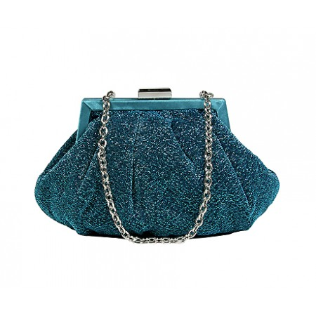 Evening Bag - Glittery Look Fabric - Teal