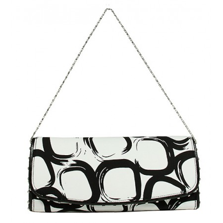 Evening Bag - Geometry Print w/ Flap - White -BG-92117WB