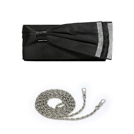 Evening Bag - Double Layer Bow w/ Linear Studs - Black - BG-92206B