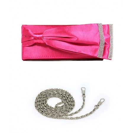 Evening Bag - Double Layer Bow w/ Linear Studs - Fuchsia