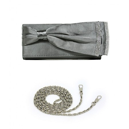 Evening Bag - Double Layer Bow w/ Linear Studs - Gray