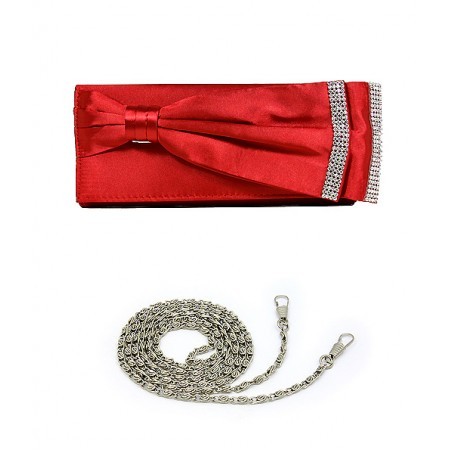 Evening Bag - Double Layer Bow w/ Linear Studs - Red