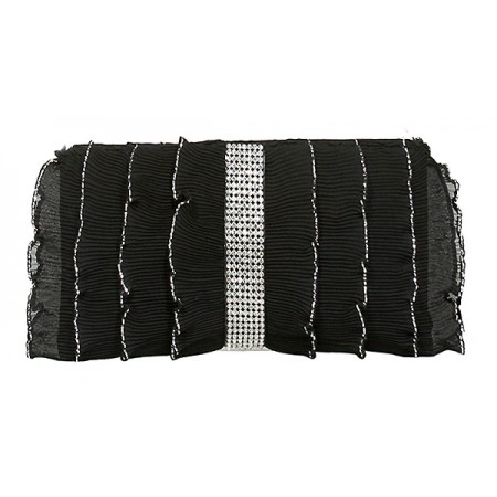 Evening Bag - Pleated Glittery w/ Trimmed Ruffles - Black -BG-92233B
