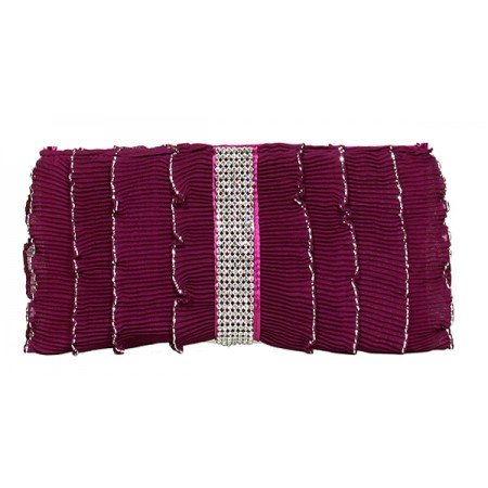 Evening Bag - Pleated Glittery w/ Trimmed Ruffles - Fuchsia