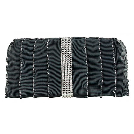 Evening Bag - Pleated Glittery w/ Trimmed Ruffles - Gray -BG-92233GY