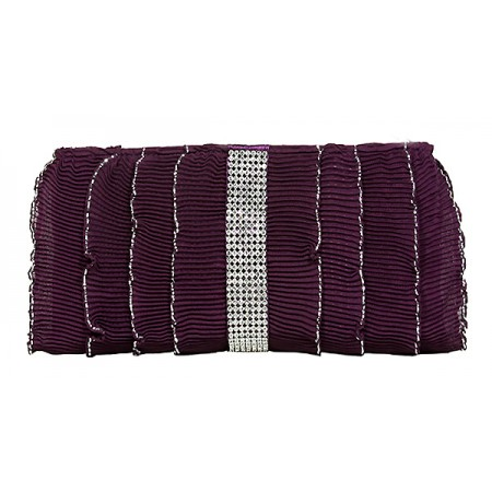 Evening Bag - Pleated Glittery w/ Trimmed Ruffles - Purple -BG-92233PU