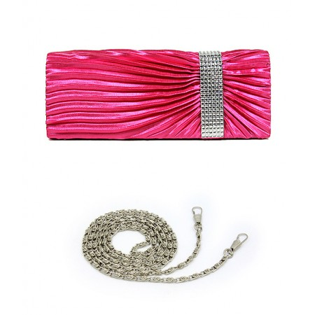 Evening Bag - Pleated Satin w/ Linear Stones Accent - Fuchsia -BG-92429FU