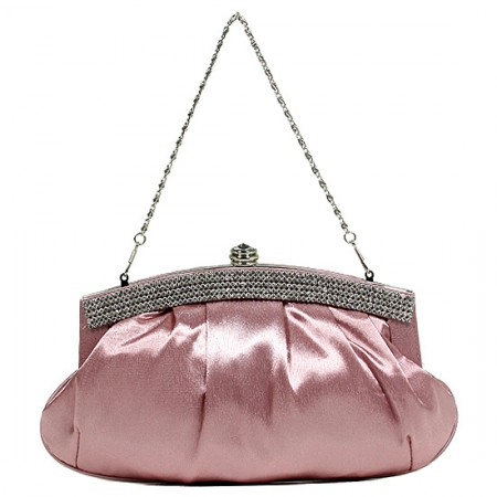 Evening Bag - Pleated Satin w/ Beads Accent - Pink - BG-E70973PK