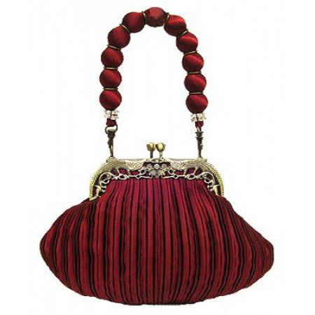 Evening Bag - Pleated w/ Vintage Frame and Fabric Ball Handle - Burgundy - BG-Z82694BG