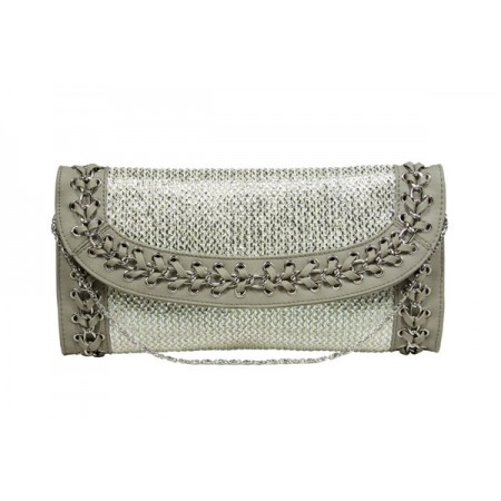 Evening Bag - Straw Like w/ Whipped Chain Trim - Silver -BG-92126S