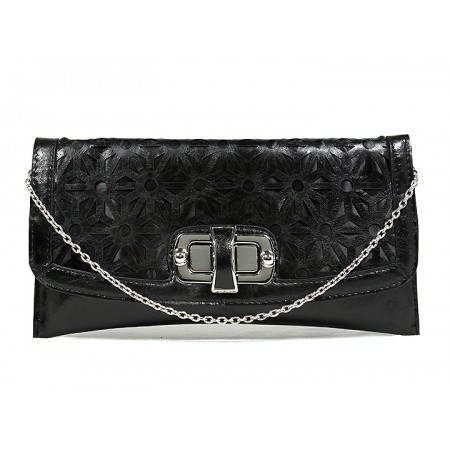 Clutch - Laser Cut Geometic Pattern Flap w/ Twist Lock Closure - Black