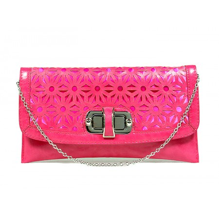 Clutch - Laser Cut Geometic Pattern Flap w/ Twist Lock Closure - Fuchsia