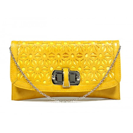 Clutch - Laser Cut Geometic Pattern Flap w/ Twist Lock Closure - Yellow