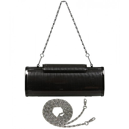 Evening Bag - Metal-like w/ Gridlines Desgin - Black - BG-1124AL-BK