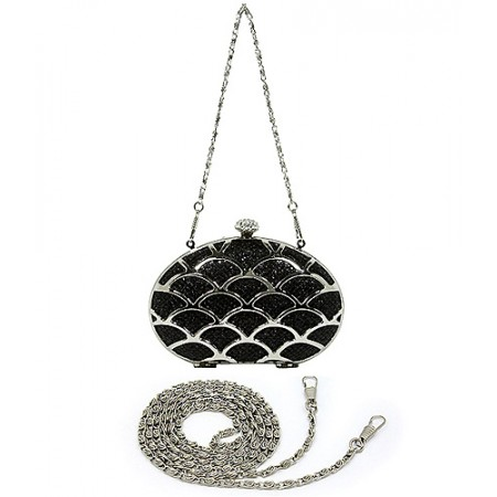 Evening Bag - Glittery Topped w/ Open Shell Shapes Metal - Black - BG-1145MS-BK