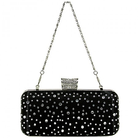 Evening Bag - Metal Frame w/ Rhinestones & Studs Embellishment - Black - BG-1147AS-BK