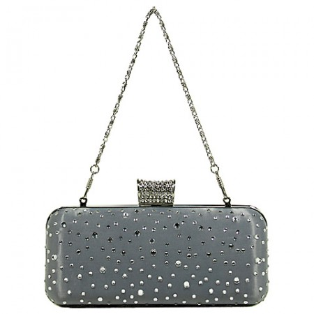 Evening Bag - Metal Frame w/ Rhinestones & Studs Embellishment - Silver - BG-1147AS-SV