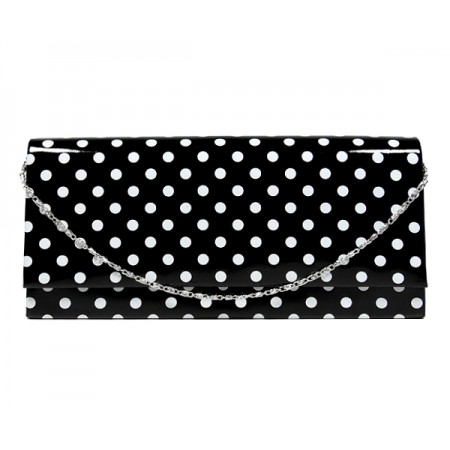 Evening Bag - Glossy Polka Dots - Black -BG-92120B