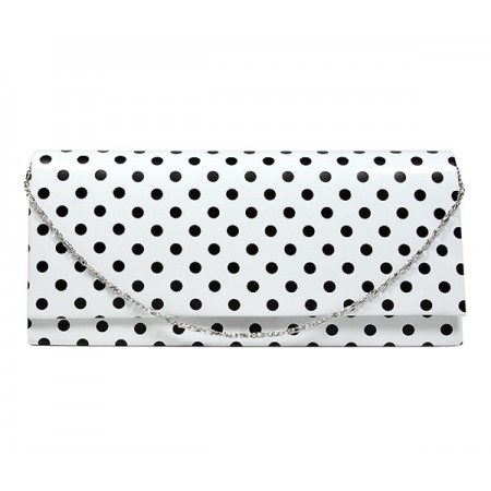 Evening Bag - Glossy Polka Dots - White -BG-92120W