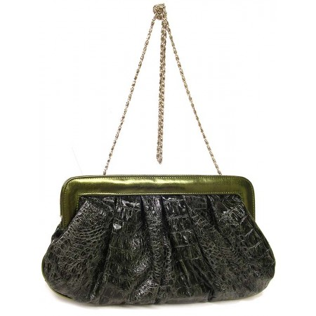 Clutch - Shiny Croc Embossed - Green