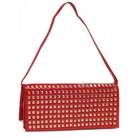 Evening Bag - Clutch w/ Pyramid Metal Studs - Red