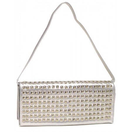 Evening Bag - Clutch w/ Pyramid Metal Studs - Silver