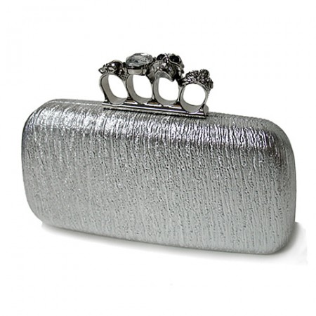 Evening Bag - Skull & Stone Knuckle Clutch Bags - Silver - BG-EHP7017SV