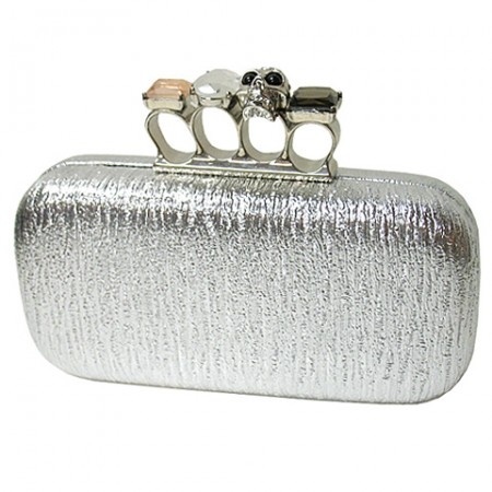 Evening Bag - Skull & Stone Knuckle Clutch Bags - Silver - BG-EHP7101SV