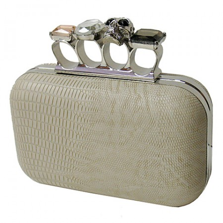 Evening Bag - Small Skull & Stone Knuckle Clutch Bags - Beige - BG-EHP7102BEI