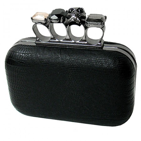 Evening Bag - Small Skull & Stone Knuckle Clutch Bags - Black - BG-EHP7102BK