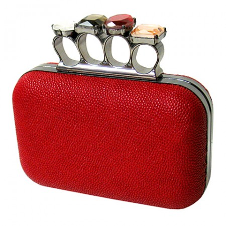 Evening Bag - Small Jeweled Stones Knuckle Clutch Bags - Red  - BG-EHP7103RD
