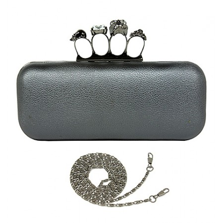 Evening Bag - Small Jeweled Stones Knuckle Clutch Bags - Pewter - BG-HD1341PT